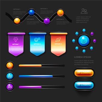 Verscheidenheid van statistische grafieken 3d glanzende infographics