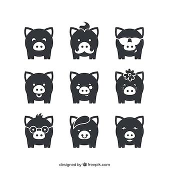 Verscheidenheid van varkens pictogrammen Premium Vector