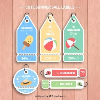 Verscheidenheid van verkoop tags met zomer items