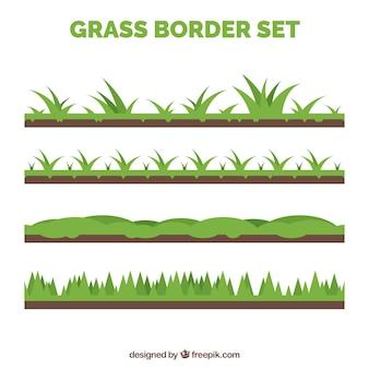 Verscheidenheid van vier gras grenzen met verschillende ontwerpen