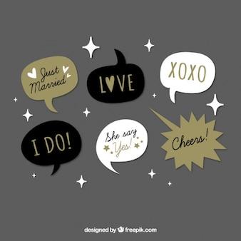 Verscheidenheid van vintage dialoog ballonnen voor huwelijk