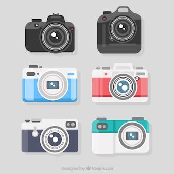 Verscheidenheid van vlakke ontworpen professionele camera's