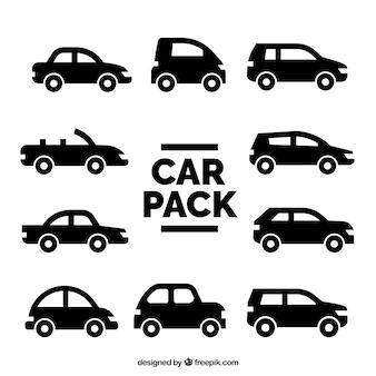 Verscheidenheid van voertuigen silhouetten