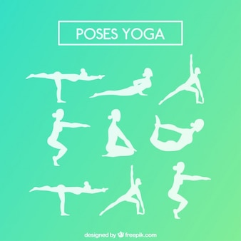 Verscheidenheid van wit yoga silhouetten