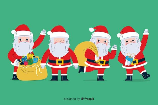 Verscheidenheidsposities van de kerstman en zak