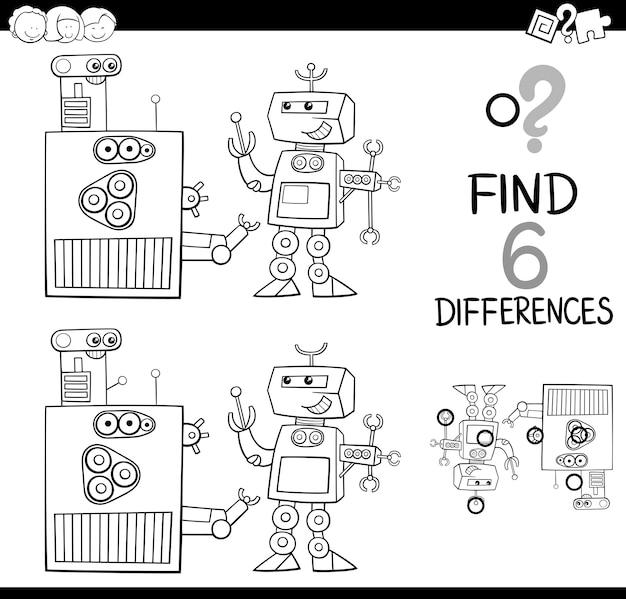 Verschillen met robots kleurplaat