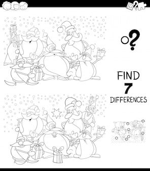 Verschillen spel kerst kleurenboek
