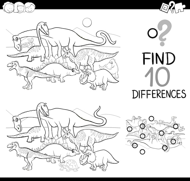 Verschillen spel met dinos