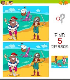 Verschillen spel met grappige piraten