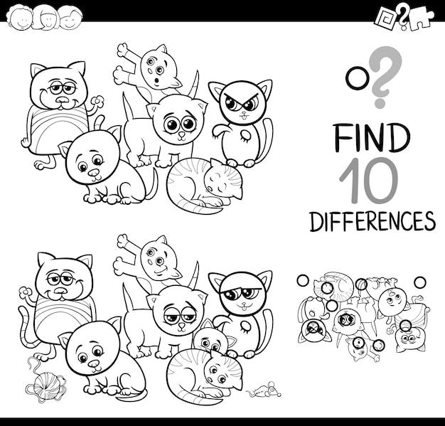 Verschillen spel met kittens