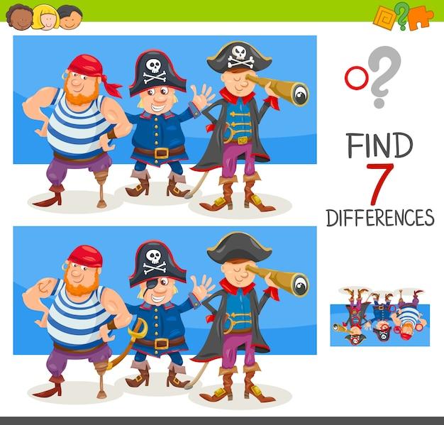 Verschillen spel met piraat karakters