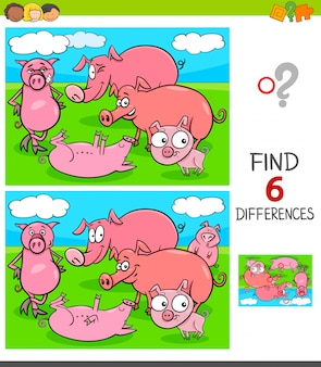Verschillen spel met varkens dierlijke karakters
