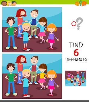 Verschillen zoeken tussen afbeeldingen spel voor kinderen