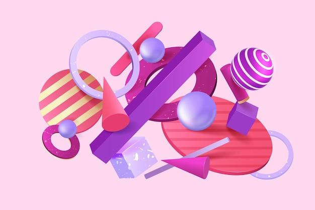 Verschillende 3d-vormen zwevende achtergrond