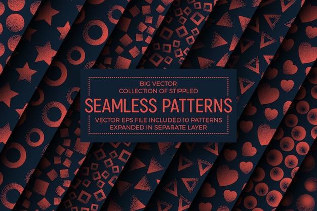 Verschillende abstracte gestippelde naadloze patronen set