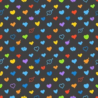Verschillende abstracte harten patroon. valentijnsdag wenskaart lay-out