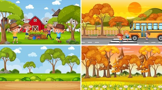 Verschillende achtergrondscènes van de natuur in set