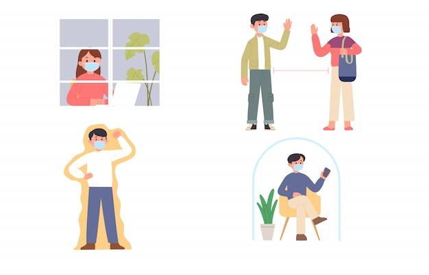 Verschillende activiteiten van mensen thuis wanneer er orders zijn voor zelfisolatie in hun respectievelijke huizen