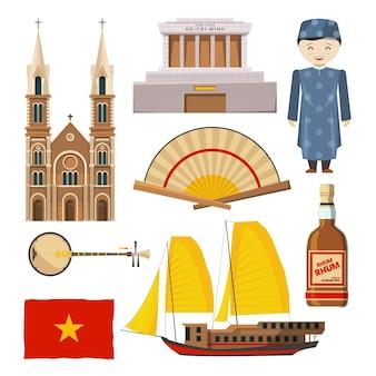 Verschillende afbeeldingen van vietnam-symbolen isoleren op een witte achtergrond.