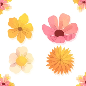 Verschillende aquarel lente bloemencollectie
