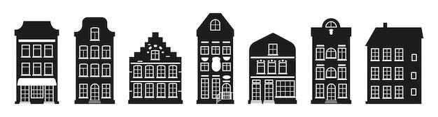 Verschillende architectuur die hoge stad bouwt. glyph stedelijk en voorstedelijk huishuisje. zwarte huizen silhouet amsterdam set