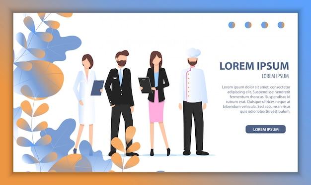 Verschillende bedrijfskarakter job fair banner