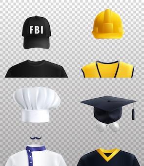 Verschillende beroepen hoeden ingesteld