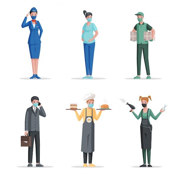 Verschillende beroepen plat concept. luchthavenmedewerker, zwangere vrouw, bezorger, zakenman, chef-kok, kapper.