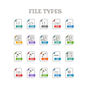 Verschillende bestandstypes dunne lijn kleuren iconen vector set