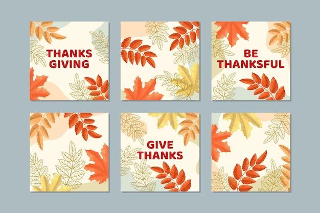 Verschillende bladeren handgetekende thanksgiving instagram-berichten