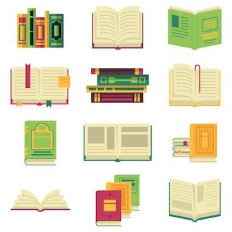 Verschillende boeken en tijdschriften of encyclopedieën geopend en gesloten.