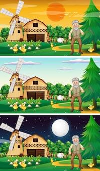 Verschillende boerderijscènes met een oud boer- en dierlijk stripfiguur