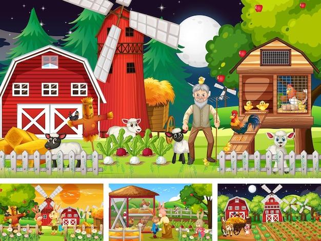 Verschillende boerderijtaferelen met een oud boer- en dierlijk stripfiguur Gratis Vector
