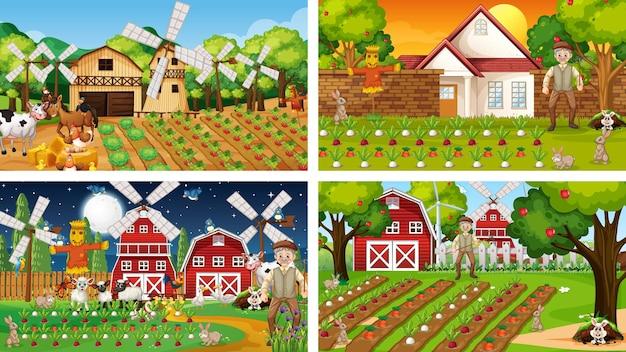 Verschillende boerderijtaferelen met een oude boer en een dierlijk stripfiguur