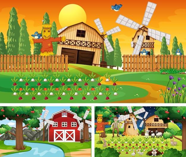 Verschillende boerderijtaferelen met stripfiguur boerderijdieren