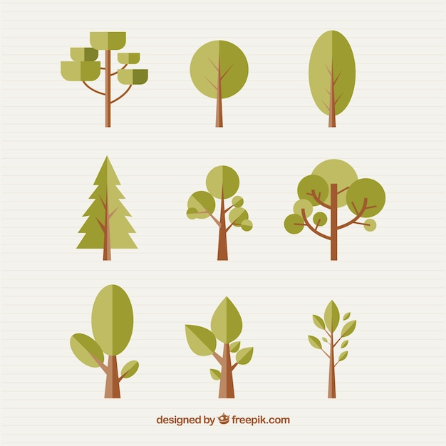 Verschillende bomen in plat design