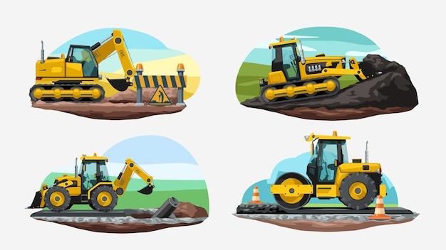 Verschillende bouwvoertuigen aan het werk in geïsoleerde set zijaanzicht