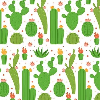 Verschillende cactussen patroon geïllustreerd