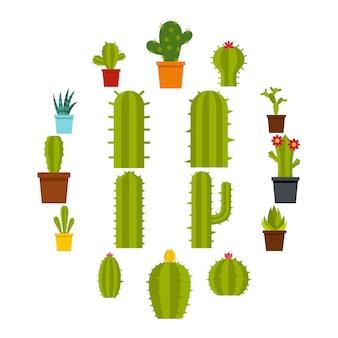 Verschillende cactussen pictogrammen instellen in vlakke stijl