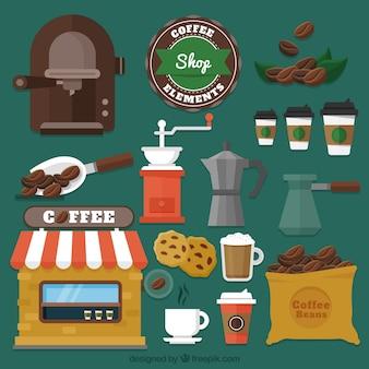 Verschillende cafe elementen in plat design