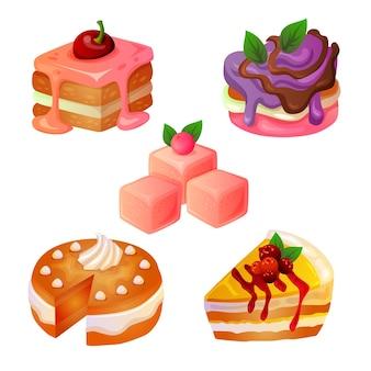Verschillende cakevorm en topping-set