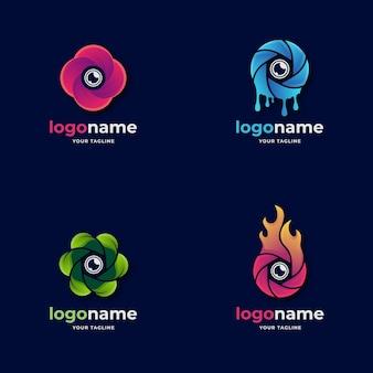 Verschillende camera diafragma lens logo met natuurelement voor fotografie en filmproductie