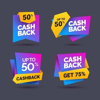 Verschillende cashback-labels