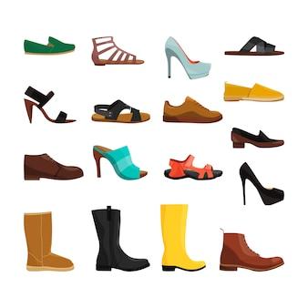 Verschillende casual schoenen van mannen en vrouwen. vectorafbeeldingen instellen