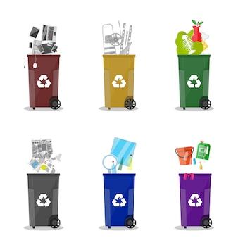 Verschillende categorieën afvalrecycling. vuilnisbakken
