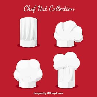 Verschillende chef-kok hoeden in plat ontwerp