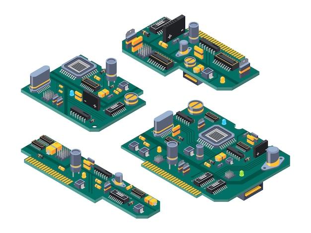 Verschillende computerborden met halfgeleiders, condensator en chips