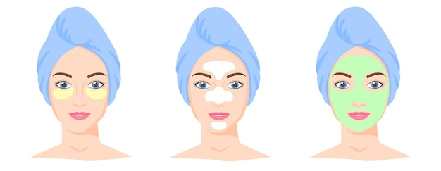 Verschillende cosmetische productset tzone strips klei of bladmasker ooglapjes vrouw met handdoek