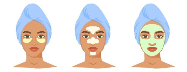 Verschillende cosmetische productset tzone strips klei of bladmasker ooglapjes zwarte vrouw gezicht