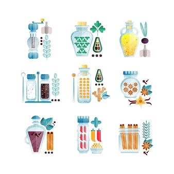 Verschillende culinaire specerijen illustraties geïsoleerd op een witte achtergrond